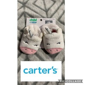 Carter's Baby girl unicorn slippers size NB